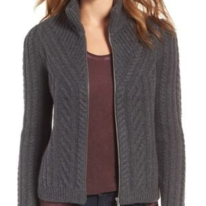 Hinge cable knit zip cardigan sweater